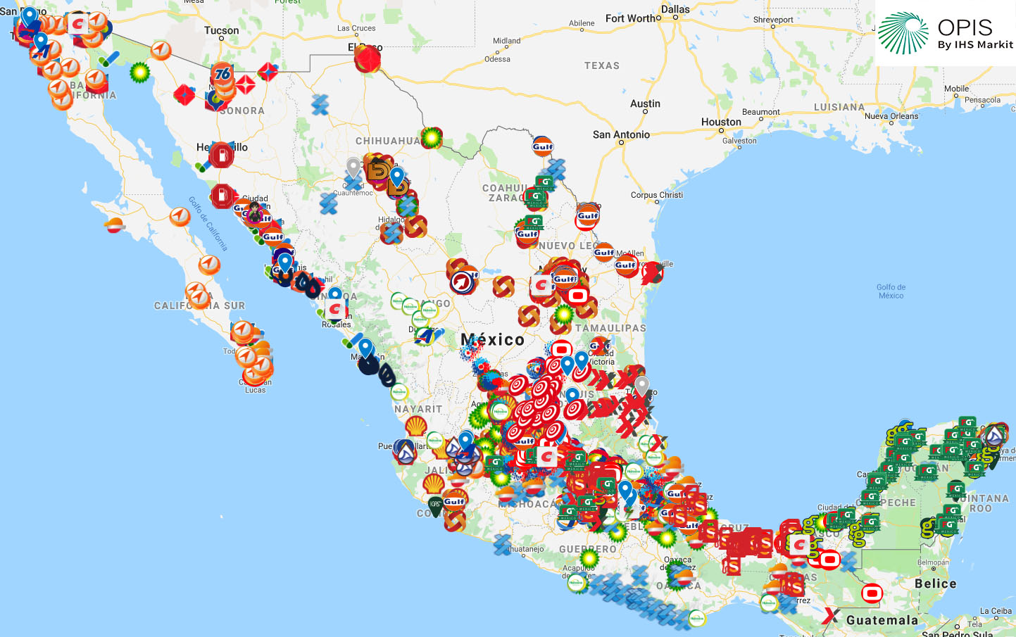Mexico Retail Gasoline Station Map
