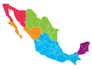 Mexico map regions
