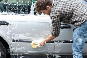 Driver at a car wash